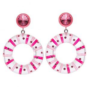Ohrring 2-teilig, Reifenmotiv, transparent-pink-rosa, 169 Euro