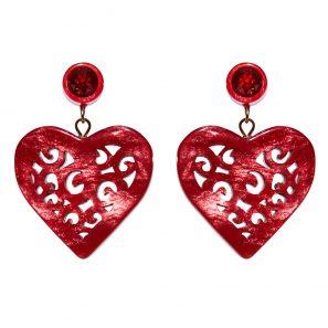 Herzohrring 2-teilig, klein, rot, 4 cm, 98 Euro