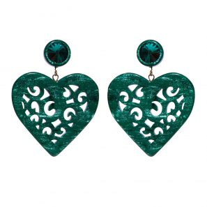 Herzohrring 2-teilig, groß, grün, 5,7 cm, 169 Euro