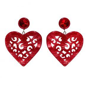 Herzohrring 2-teilig, groß, rot, 5,7 cm, 169 Euro