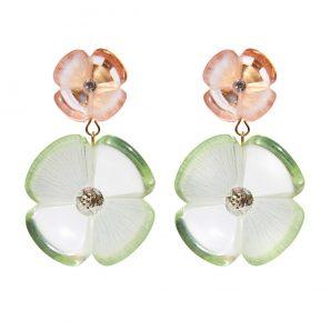 Blumenohrring 2-teilig, transparent, rosa-grün, 169 Euro