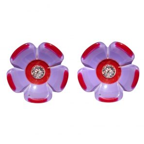 Blumenohrring, rot-lavendel, 98 Euro