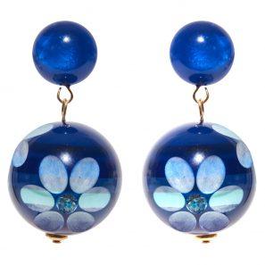 Kugelohrring 2-teilig, Blumenmotiv, blau, 4,5 cm, 129 Euro