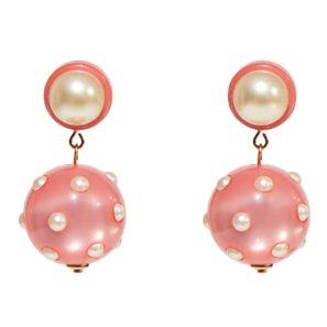 Kugelohrringe 2-teilig mit Perle, rosa, 4 cm, 169 Euro
