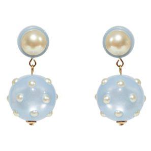Kugelohrringe 2-teilig mit Perle, hellblau, 4 cm, 169 Euro