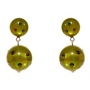 Kugelohrring 2-teilig, olive mit Multisteinen, 3,8 cm, 129 Euro